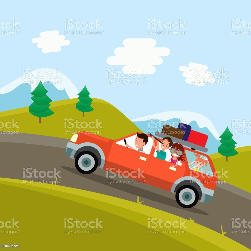 Viaje de la familia. Padre, madre e hijos que viajen en coche en el fondo de un hermoso paisaje de montaña. Ilustración de vector de un diseño plano - ilustración de arte vectorial