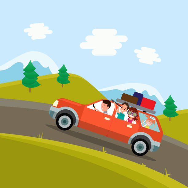 family trip. father, mother and children traveling by car on the background of a beautiful mountain landscape. vector illustration of a flat design - family trips stock illustrations