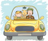 Family trip in colourful cartoon style