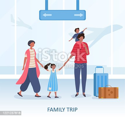 istock Family Trip or travel concept at terminal 1221237818