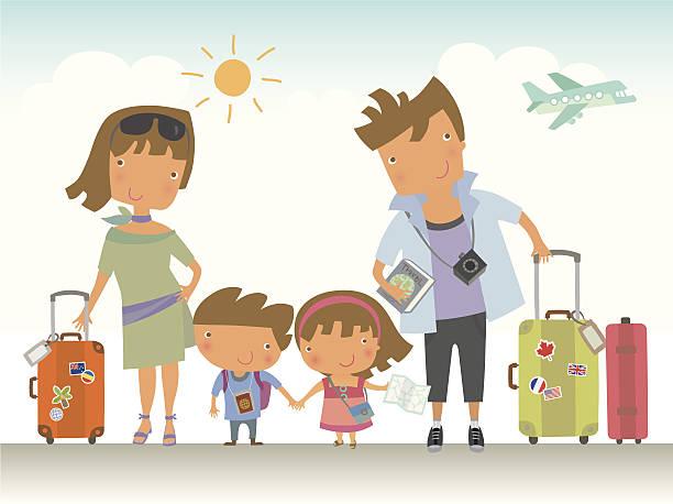 illustrations, cliparts, dessins animés et icônes de voyage en famille - vacances en famille