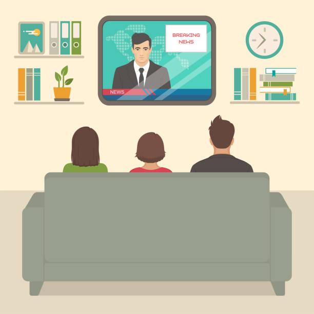 ilustrações de stock, clip art, desenhos animados e ícones de family tv watching at home, people sitting on sofa watching television in room - tv e familia e ecrã