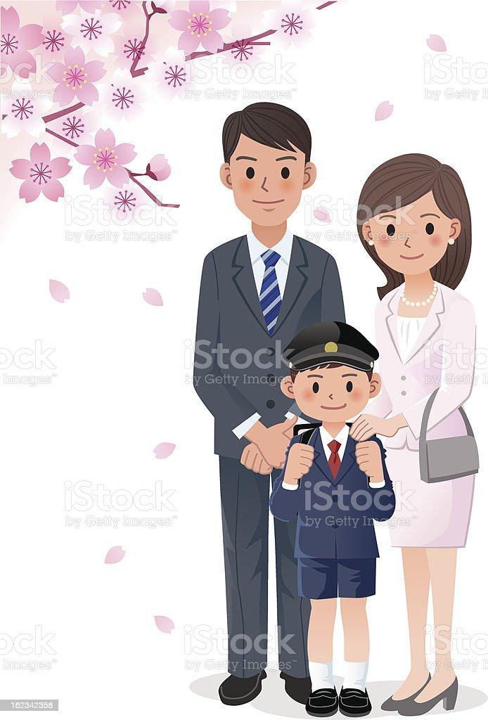 Family under cherry blossom trees vector art illustration