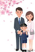 Family under cherry blossom trees