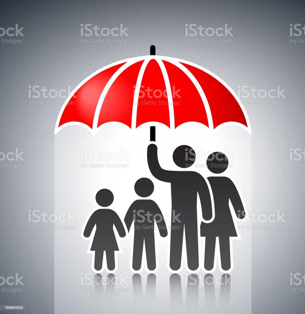 Family under Umbrella Concept Stick Figures vector art illustration