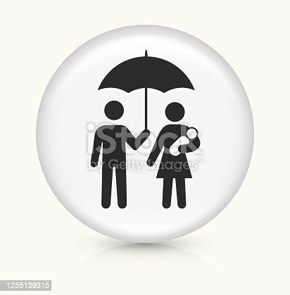 Family Under Umbrella Icon. This 100% royalty free vector illustration is featuring a round button with a drop shadow and the main icon is depicted in black. The button had a slight bevel 3D effect.