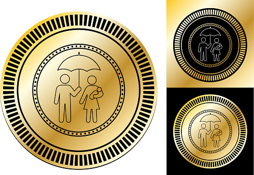 Family Under Umbrella Icon