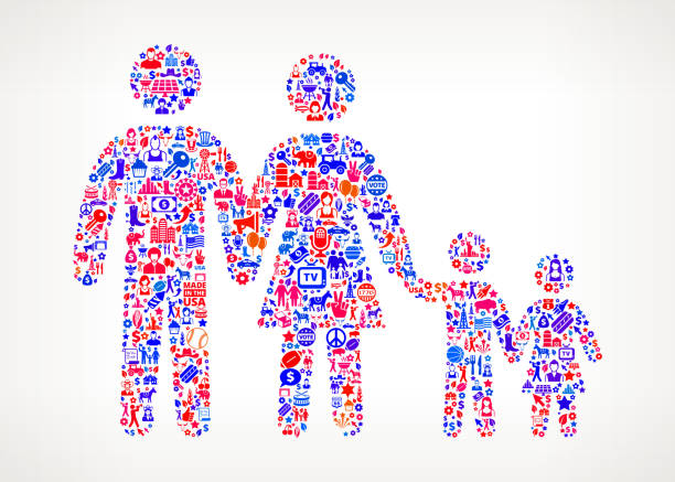 family us royalty free vector art pattern - family 4th of july 幅插畫檔、美工圖案、卡通及圖標