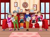 Family using laptop pad on sofa,six people,vector illustration