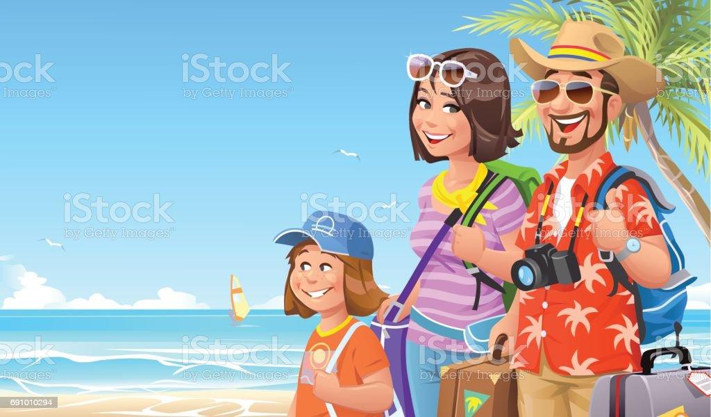 Vacances en famille à la plage - clipart vectoriel de Adulte libre de droits
