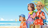 Vector illustration of a happy family, two parents and their little daughter, going on vacation on a tropical beach. They have just arrived and are carrying bags and suitcases. Concept for tourism, family and summer vacations.