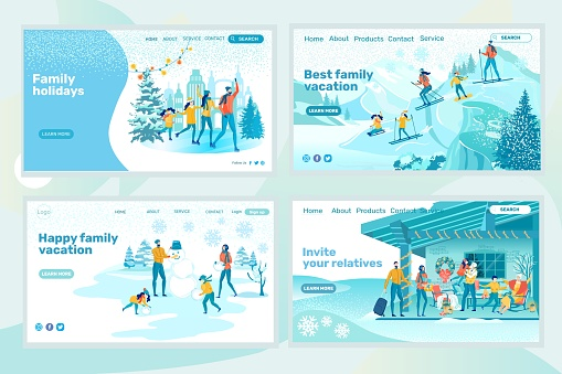 Family Vacation Design Winter Landing Page Set
