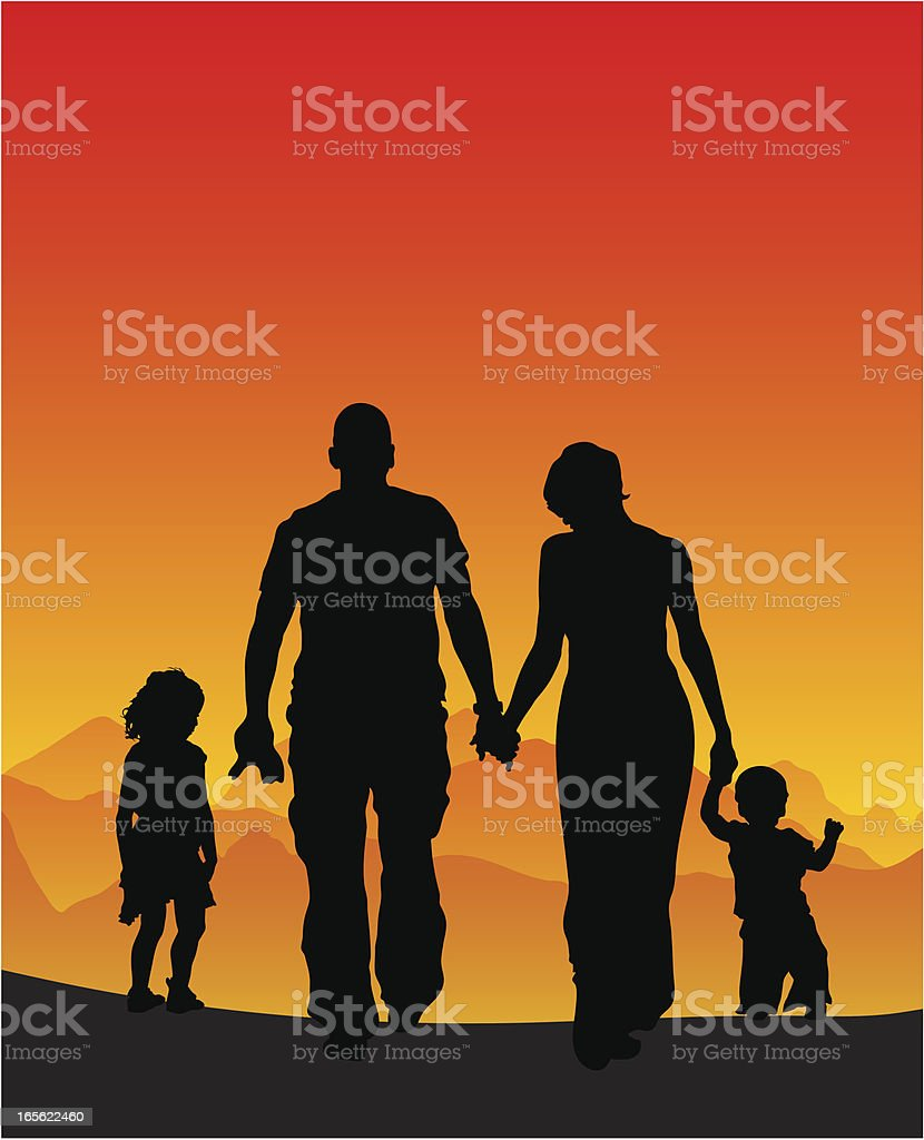 Family vacation silhouette royalty-free stock vector art