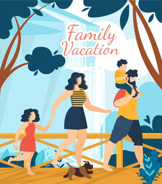 family vacation tropical resort lettering poster - old man shirtless cartoons stock illustrations, clip art, cartoons, & icons