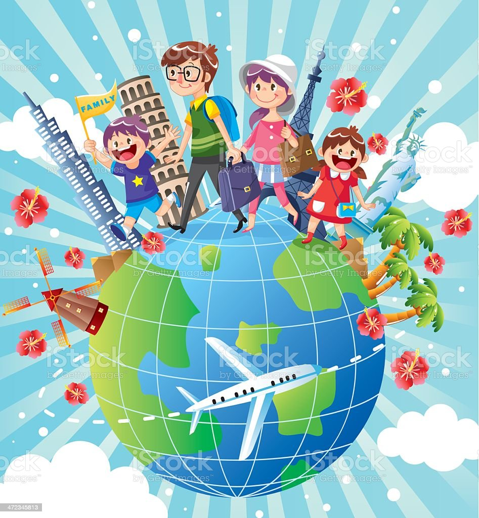 Family Vacation vector art illustration