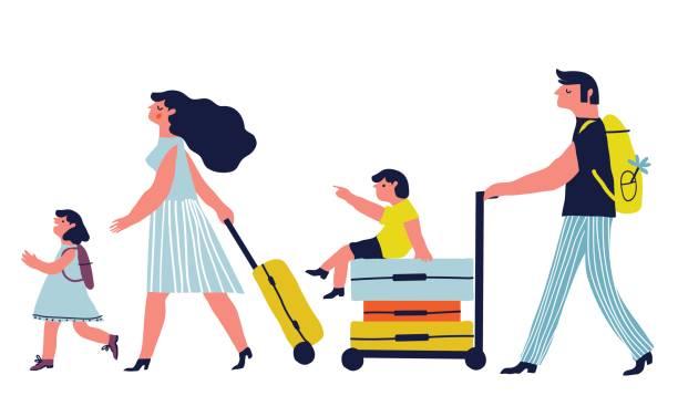 ilustraciones, imágenes clip art, dibujos animados e iconos de stock de vacaciones para la familia - viajes familiares