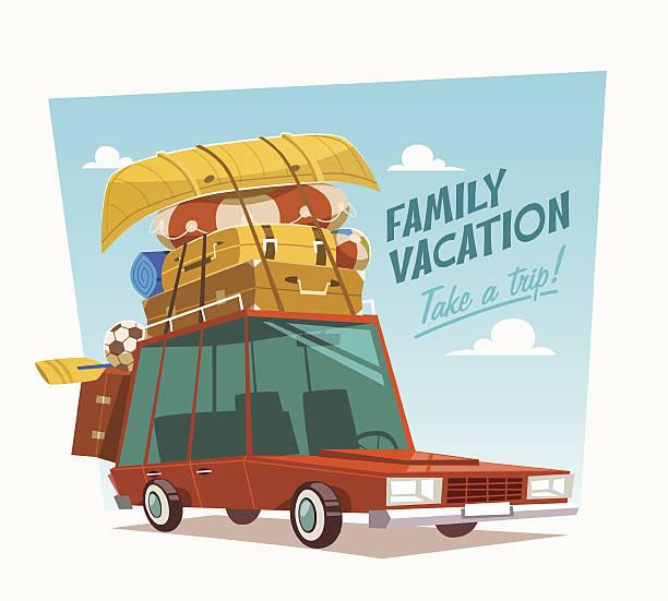 ilustraciones, imágenes clip art, dibujos animados e iconos de stock de vacaciones en familia.  ilustración vectorial. - viajes familiares
