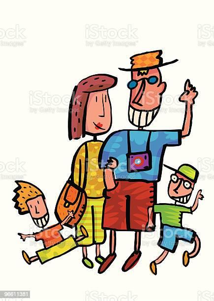 Family Vacation With Kids-vektorgrafik och fler bilder på Arm i arm