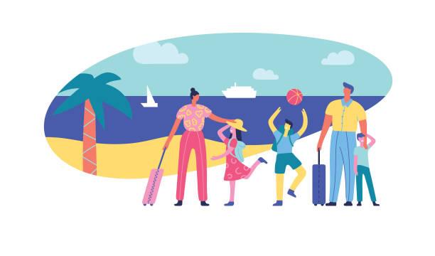 ilustraciones, imágenes clip art, dibujos animados e iconos de stock de vacaciones familiares - vacaciones familiares