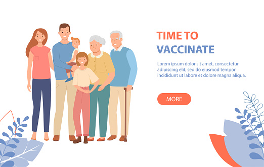 Family vaccination concept for COVID-19, or influenza.