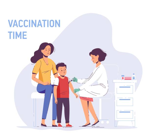 illustrations, cliparts, dessins animés et icônes de concept de vaccination familiale pour la santé d'immunité. - vaccin enfant
