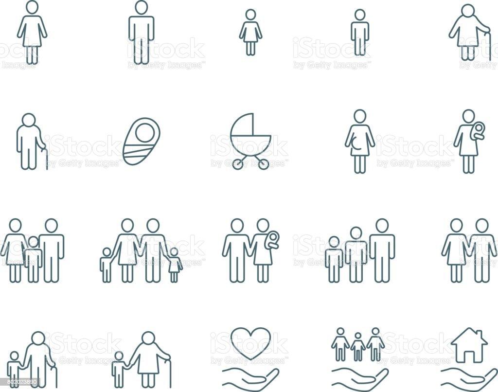 Icônes vectorielles familiale icônes vectorielles familiale vecteurs libres de droits et plus d'images vectorielles de adulte libre de droits