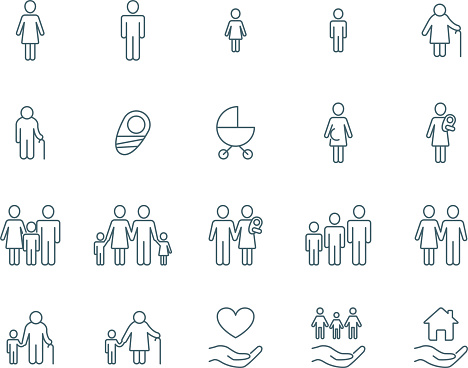Family vector icons clipart