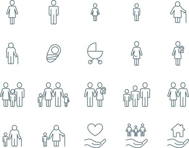 Family vector icons Family vector icons set simple linear style conceptual symbol stock illustrations