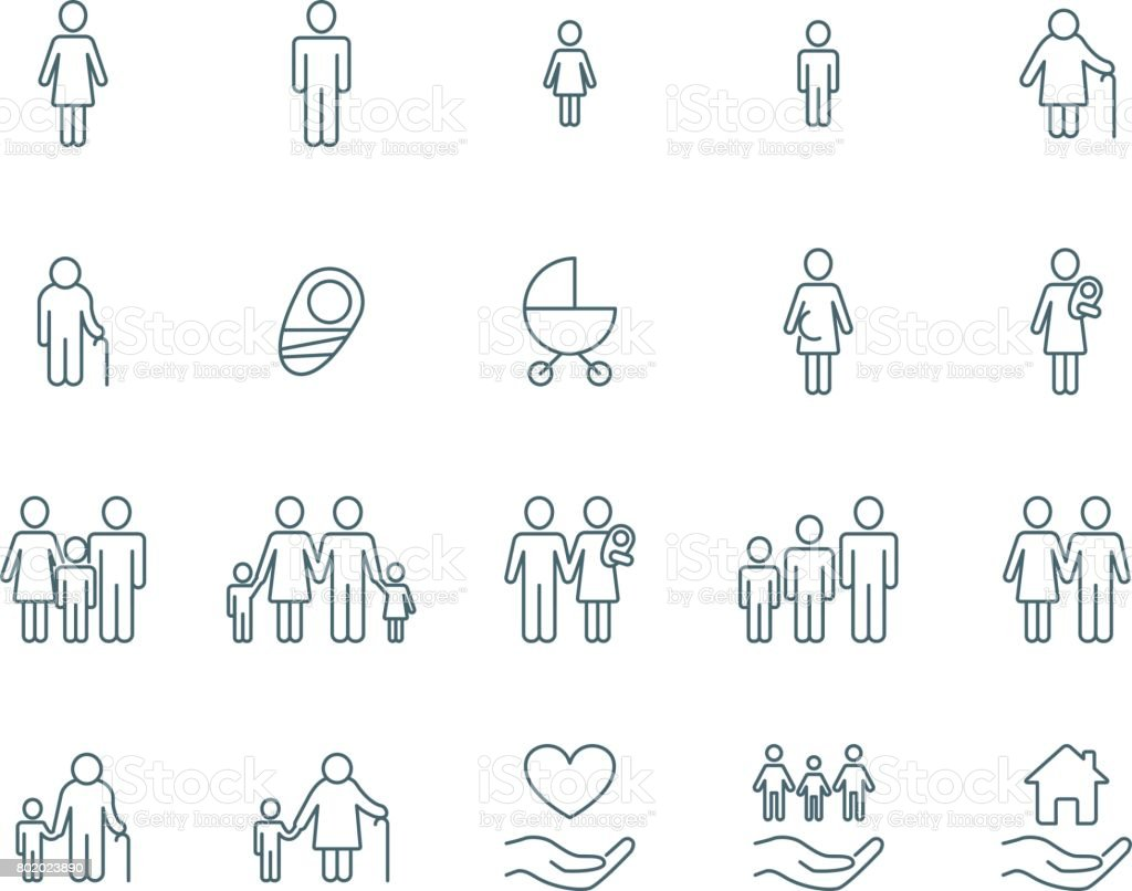 Family vector icons vector art illustration