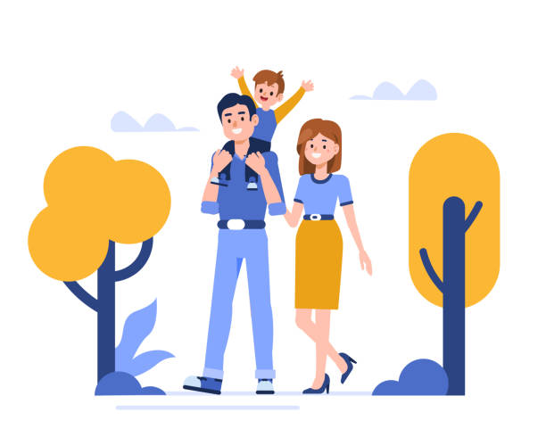 family Family characters walking in park. Flat style vector illustration isolated on white background. happy family stock illustrations