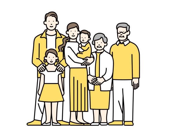 stockillustraties, clipart, cartoons en iconen met familie - alleen japans