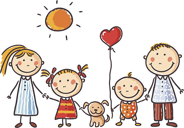Family Child's drawing of a happy family with a puppy and balloon.   happy family stock illustrations