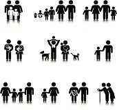 Compact Figure Family Concepts: Black and White icon set.