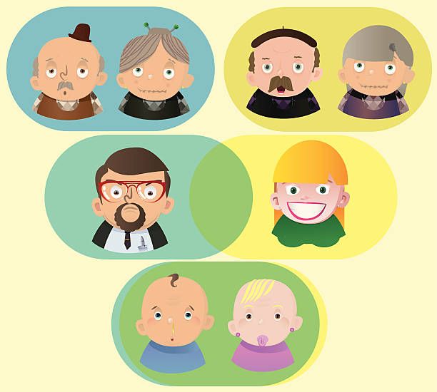 family - old man faces pics stock illustrations, clip art, cartoons, & icons
