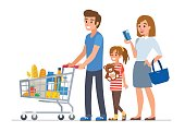 Family  shopping in supermarket and paying with card. Flat style vector illustration isolated on white  background.