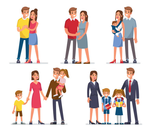 family Family development stages. Mother, father and kids. Flat style vector illustration isolated on white background. happy family stock illustrations
