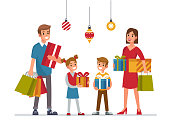 Family with holiday gifts. Mother, father and kids. Flat style vector illustration isolated on white background.
