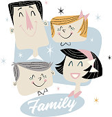 Couple of spouses with their children, Dad, Mom, Child, Girl, forming a happy family in retro vintage draw style