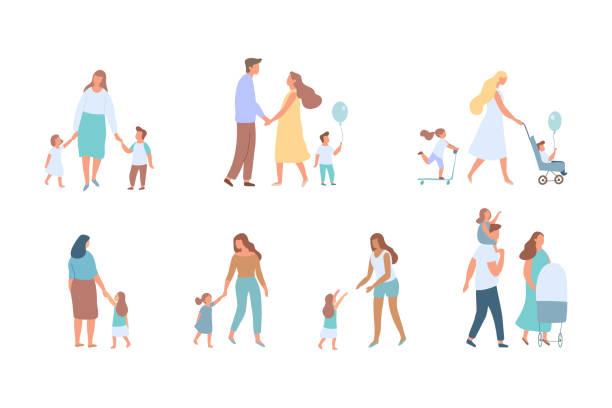 bildbanksillustrationer, clip art samt tecknat material och ikoner med familjen vektor set - parent talking to child
