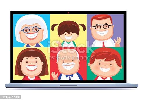 family video chatting via laptop