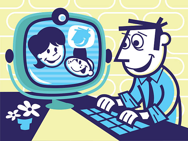 family video conference call - peter bajohr stock illustrations, clip art, cartoons, & icons