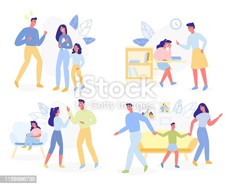 Family Violence Set Isolated on White Background. Different Conflicts Aggressions Quarrels and Disagreements Situations with Aggressive Inadequate Parents and Kids. Cartoon Flat Vector Illustration
