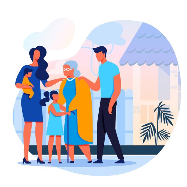 Family Visits Grandmother Flat Vector Illustration
