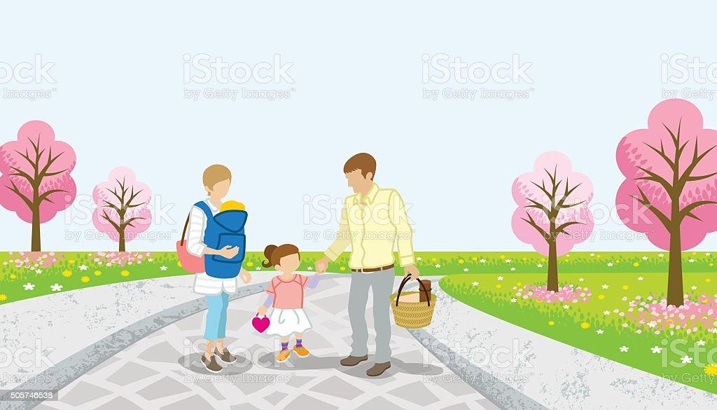 Family walk in the cherry tree road - EPS10 vector art illustration