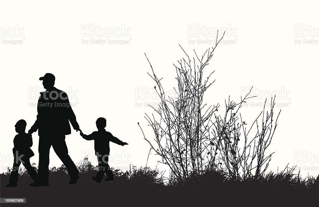 Family Walk Vector Silhouette royalty-free family walk vector silhouette stock vector art & more images of black color