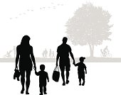 Family Walk Vector Silhouette