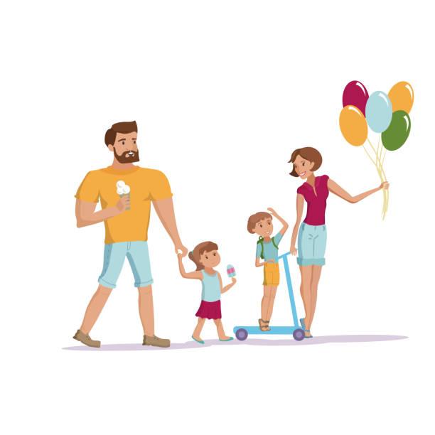 stockillustraties, clipart, cartoons en iconen met familie wandelen op de vector park - mini amusementpark