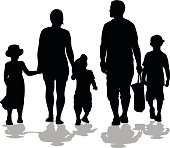 A vector silhouette illustration of a young family walking.  There is a mother, father, and three children including two young boys and a young girl.