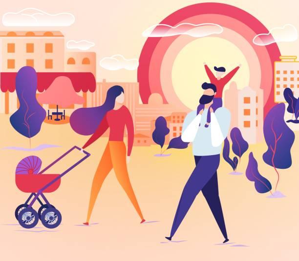 bildbanksillustrationer, clip art samt tecknat material och ikoner med familj walking tillsammans på city street på helgen. - pappa son