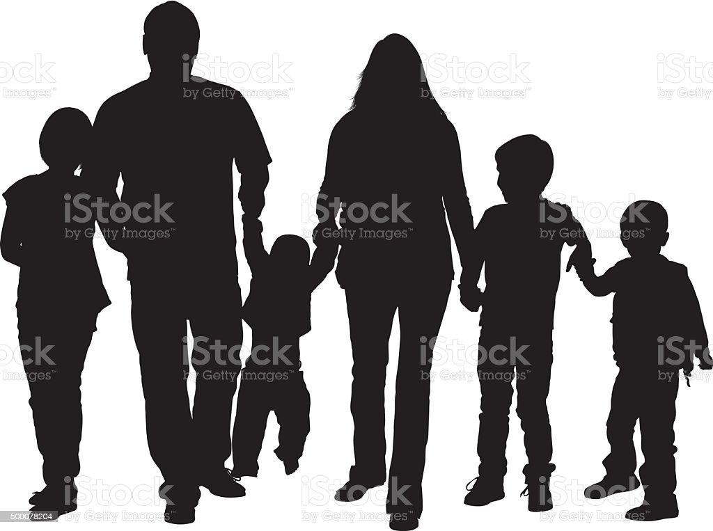 Family walking together vector art illustration